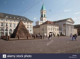 Karlsruhe Baden Baden Marketplace With Pyramid And Protestant Church Karlsruhe Stock