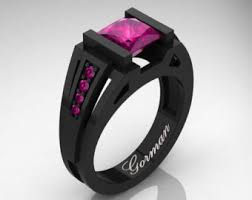 Black And Pink Wedding Rings by Pink And Black Ring Etsy