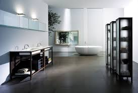 large bathroom design with round tub glass partition double sink