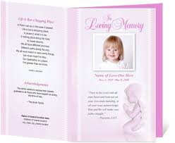 baby funeral program for child baby memorial service programs letter single fold