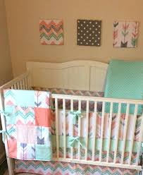 Navy And Coral Crib Bedding Coral Colored Crib Sheets Together With Size Of Nursery Crib