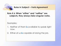 rules in subject u2013 verb agreement