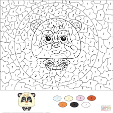panda color by number free printable coloring pages