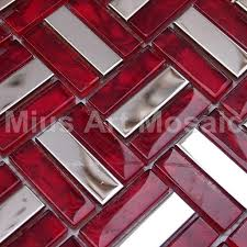 Red Mosaic Tile Backsplash by Strip Metal Tiles Mixed Red Crystal Glass Mosaic Tile Red Kitchen