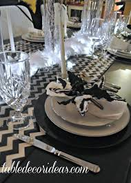 Black And White Christmas Decorations For Tables by Table Decor Idea Chevron Black U0026 White Christmas Theme
