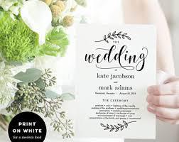 sided wedding program template wedding fan template etsy