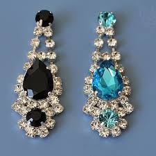 rhinestone chandelier earrings black rhinestone chandelier earrings from weddingsparkles