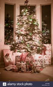 Beautiful Christmas Tree Surrounded By Presents Lit Up At Night