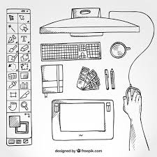 Graphic Designer Desk Sketchy Graphic Designer Desk In Top View Vector Free Download