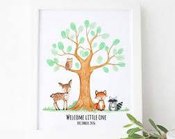 baby shower fingerprint tree fingerprint tree etsy