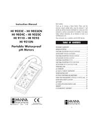hanna instruments hi 9023 user manual 20 pages also for hi