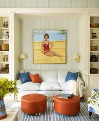 Beach Themed Living Room by Beach Themed Living Room Ideas With Wall Art And Round Ottomans