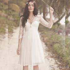 high wedding dresses 2011 discount empire knee length v neck wedding dress with 3 4