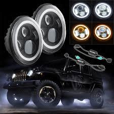 jeep headlights halo 7inch 40w round jeep wrangler led headlight