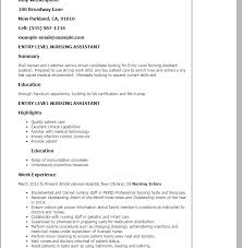cna entry level resume professional entry level nursing assistant
