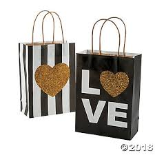 gift bags for wedding black gold glitter wedding kraft paper gift bags