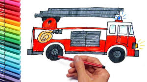 drawing and coloring page fire truck and tractor color emergency
