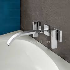 Wall Mounted Bathroom Faucets by Contemporary Wall Mounted Electroplated Finish Bathroom Faucet