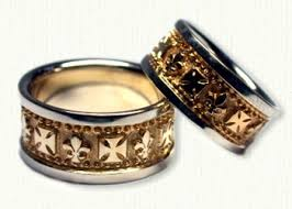 german wedding ring custom fleur de lis and german cross wedding band set any symbol