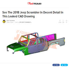 jeep scrambler see the 2019 jeep scrambler in decent detail in this leaked cad