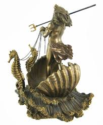 amazon com poseidon on seahorse chariot bronze finish statue