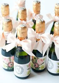 themed wedding favors chagne miniatures and bottle