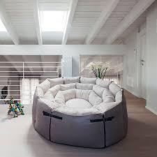 round sofa contemporary fabric leather micama by francesca