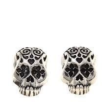 skull stud earrings king baby jewelry sterling silver day of the dead skull stud