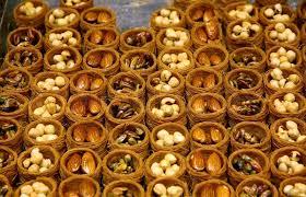 up traditional turkish baklava cakes sweet dessert made of