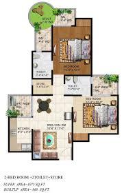 2bhk House Plans Ajnara Grand Heritage Floor Plan
