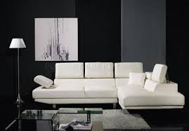 White Leather Living Room Sets White Leather Sectional Sofa W Adjustable Headrests U0026 Arm