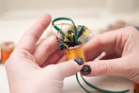 project sparkling thread spool ornaments make
