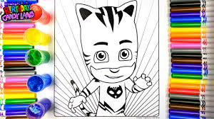 coloring pj masks cat boy coloring pages and learning colors and