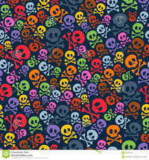 cute halloween pattern background cute colorful skulls and crossbones seamless stock vector image