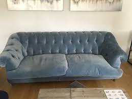 light blue velvet couch loaf bagsie light blue velvet sofa in tower bridge london gumtree