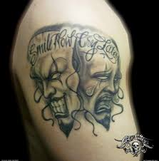 drama comedy masks and rose tattoo designs on arm in 2017 real