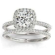 ring setting square halo diamond bridal set ring setting band 14k w gold 0 33ct