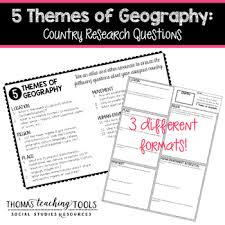5 themes of geography lesson 5 themes of geography country research questions by thomas teaching