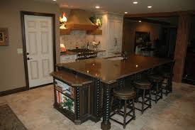 custom made rustic island with french country painted cabinets by
