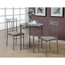 monarch dining set 3pcs set cappuccino silver metal walmart com