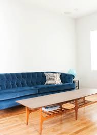 velvet couch yellow brick home