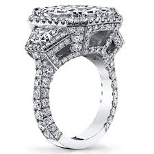 halo design rings images Solomon brothers 3 stone halo design radiant cut engagement ring jpg