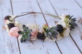 hair wreath hydrangeas peonies and succulents hair wreath halo for