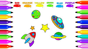 draw coloring ufo rocket star earth learn colored for kids