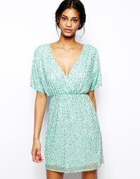 asos sequin kimono mini dress in green lyst