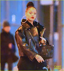 rihanna hoop earrings rihanna wears hoop earrings with leather jacket photo