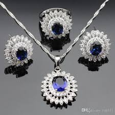 blue sapphire necklace pendant images Discount huge flower style blue sapphire jewelry sets for women jpg