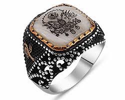 925 silver ottoman emblem model ring rings tesbihane