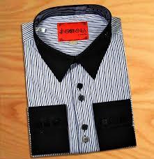 insomnia white blue pinstripes design high collar french cuff 100