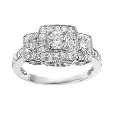 vera vera wang diamond trellis halo engagement ring in 14k white